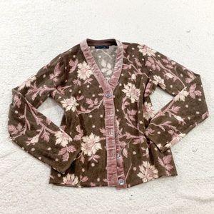 Boden wool velvet trim floral cardigan